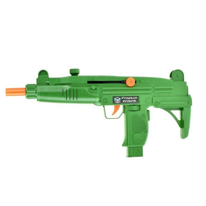Leger speelgoed wapen UZI groen met ratel geluid 37 cm