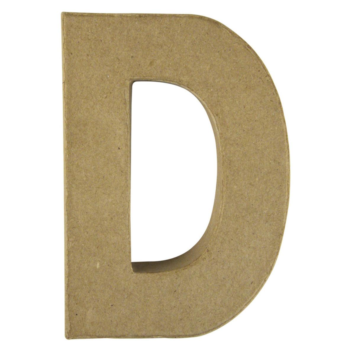 Letter D van papier mache onbeschilderd