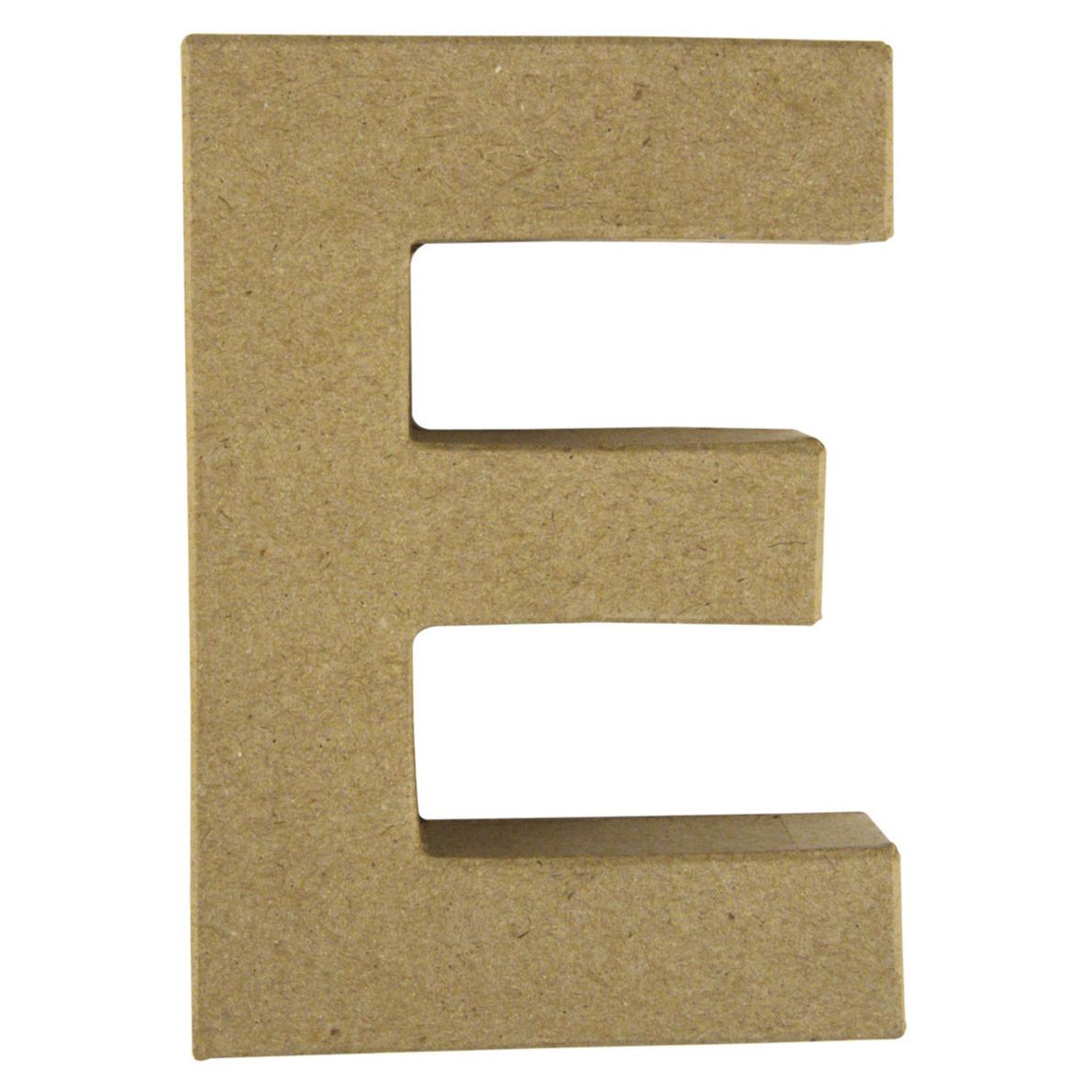 Letter E van papier mache onbeschilderd