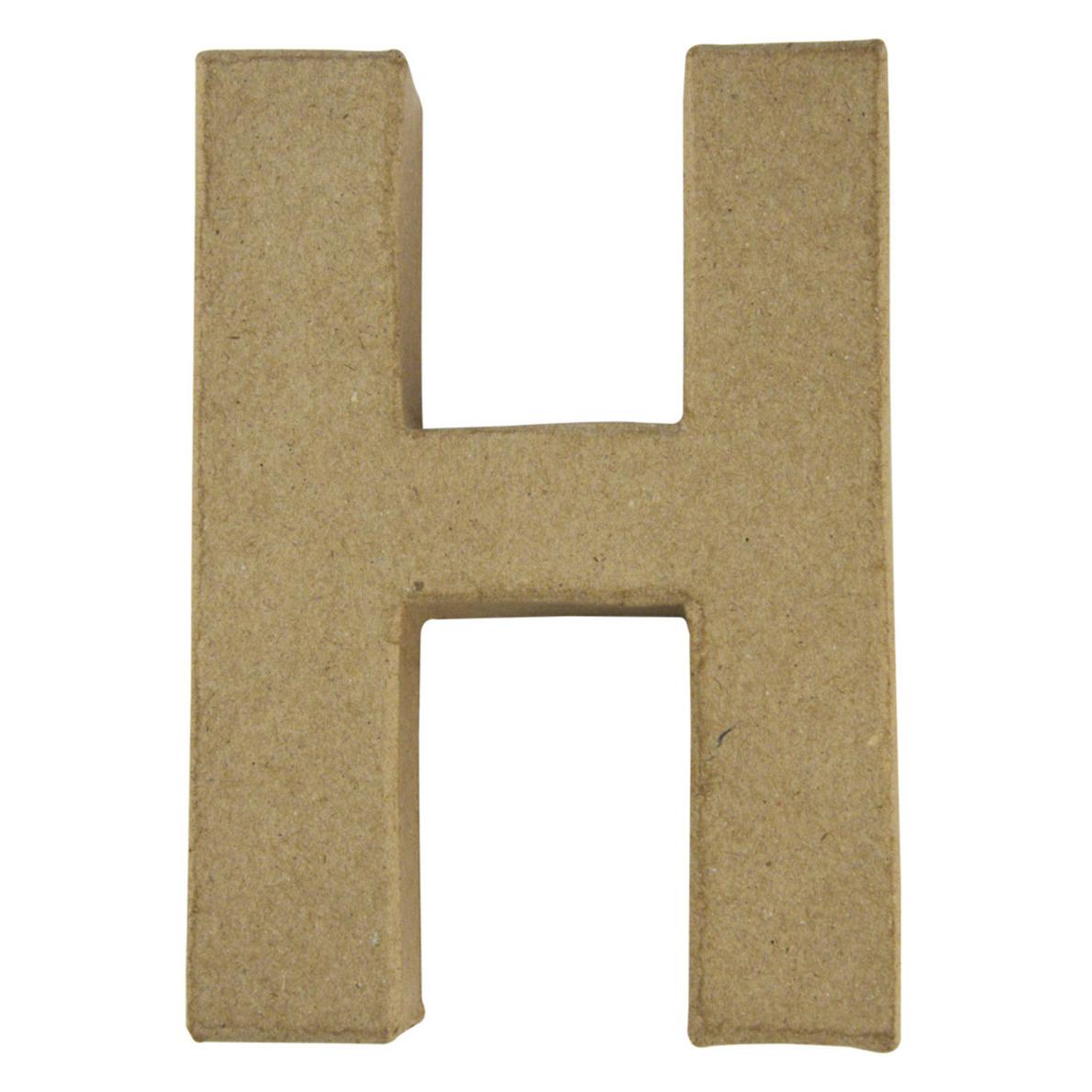 Letter H van papier mache onbeschilderd