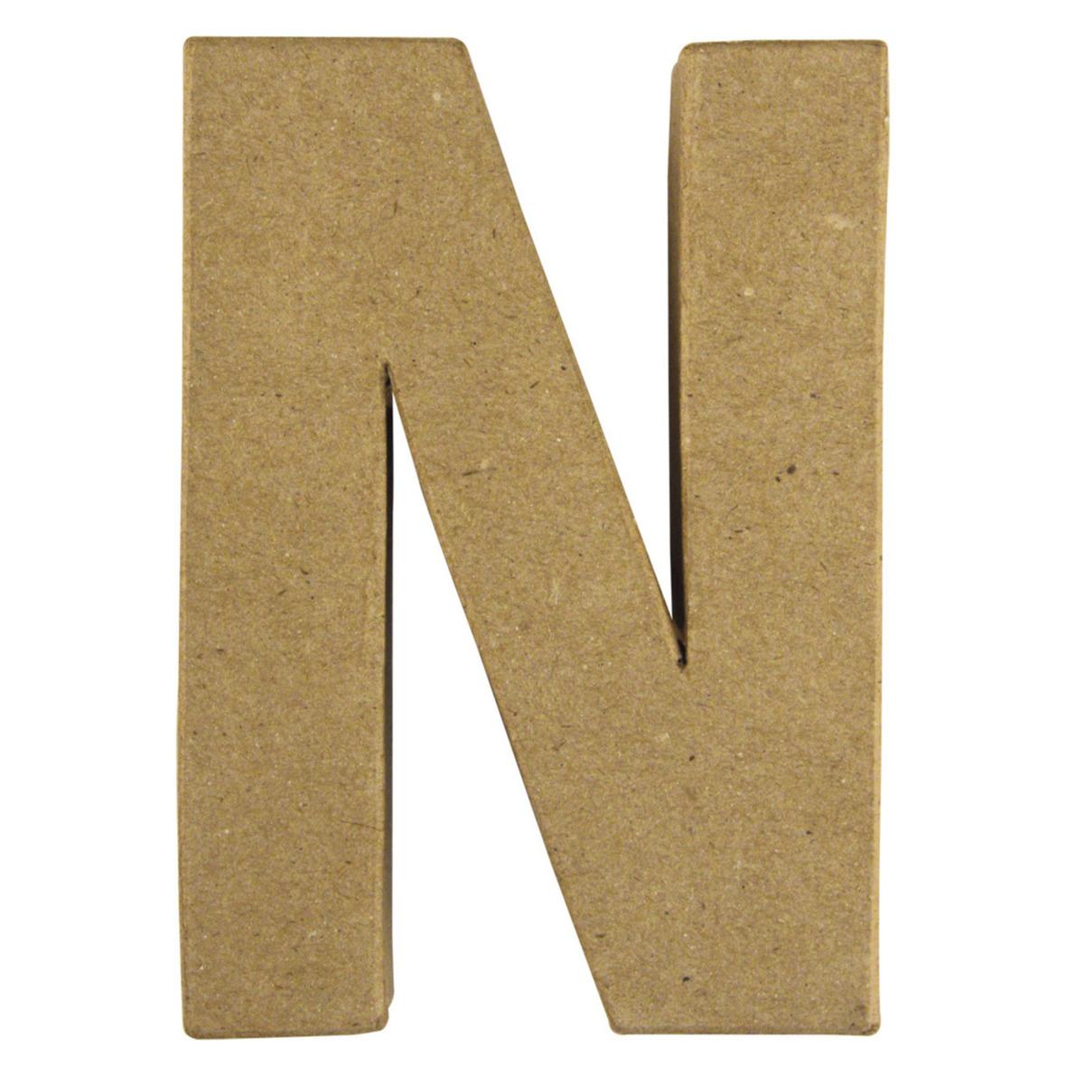 Letter N van papier mache onbeschilderd