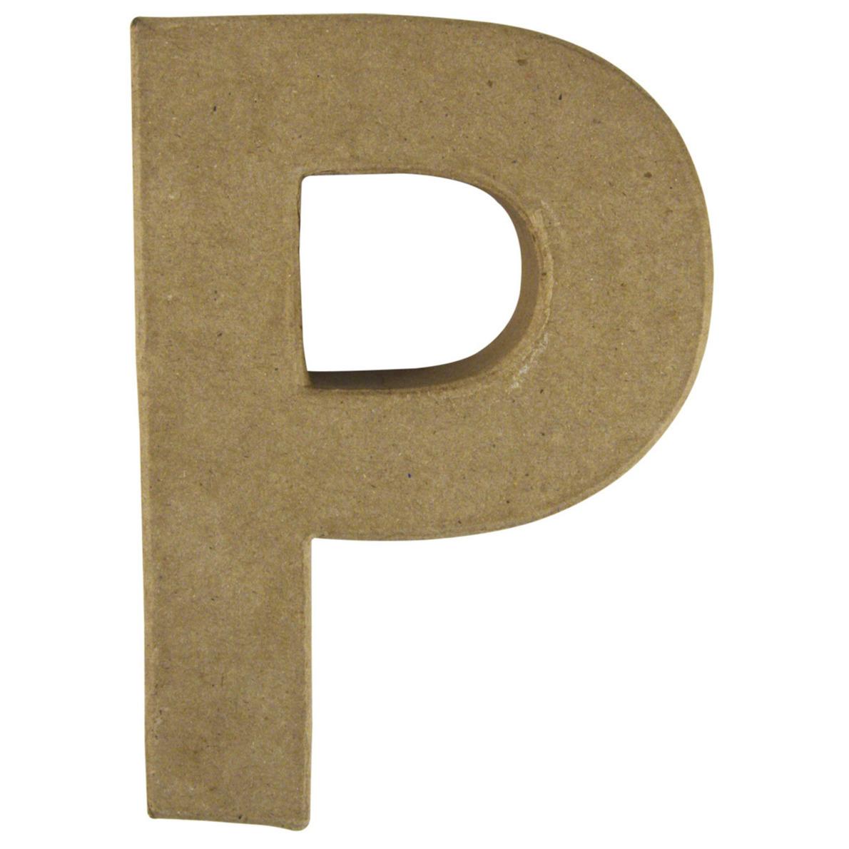 Letter P van papier mache onbeschilderd