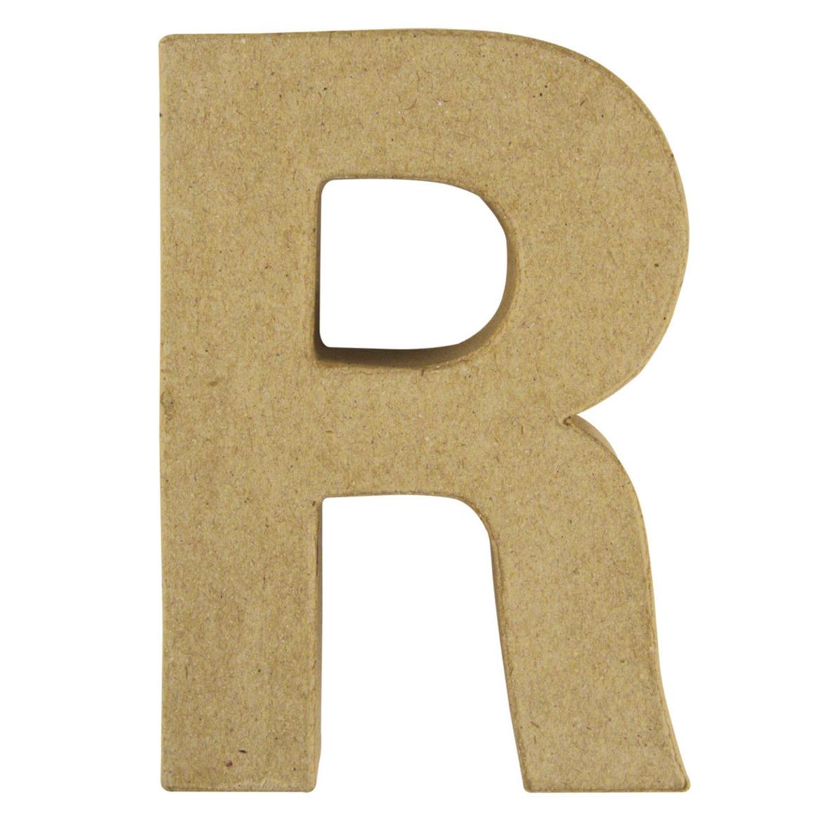 Letter R van papier mache onbeschilderd