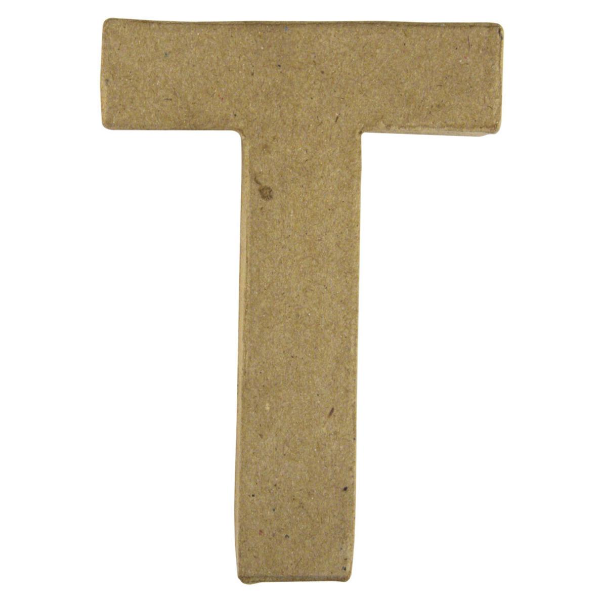 Letter T van papier mache onbeschilderd