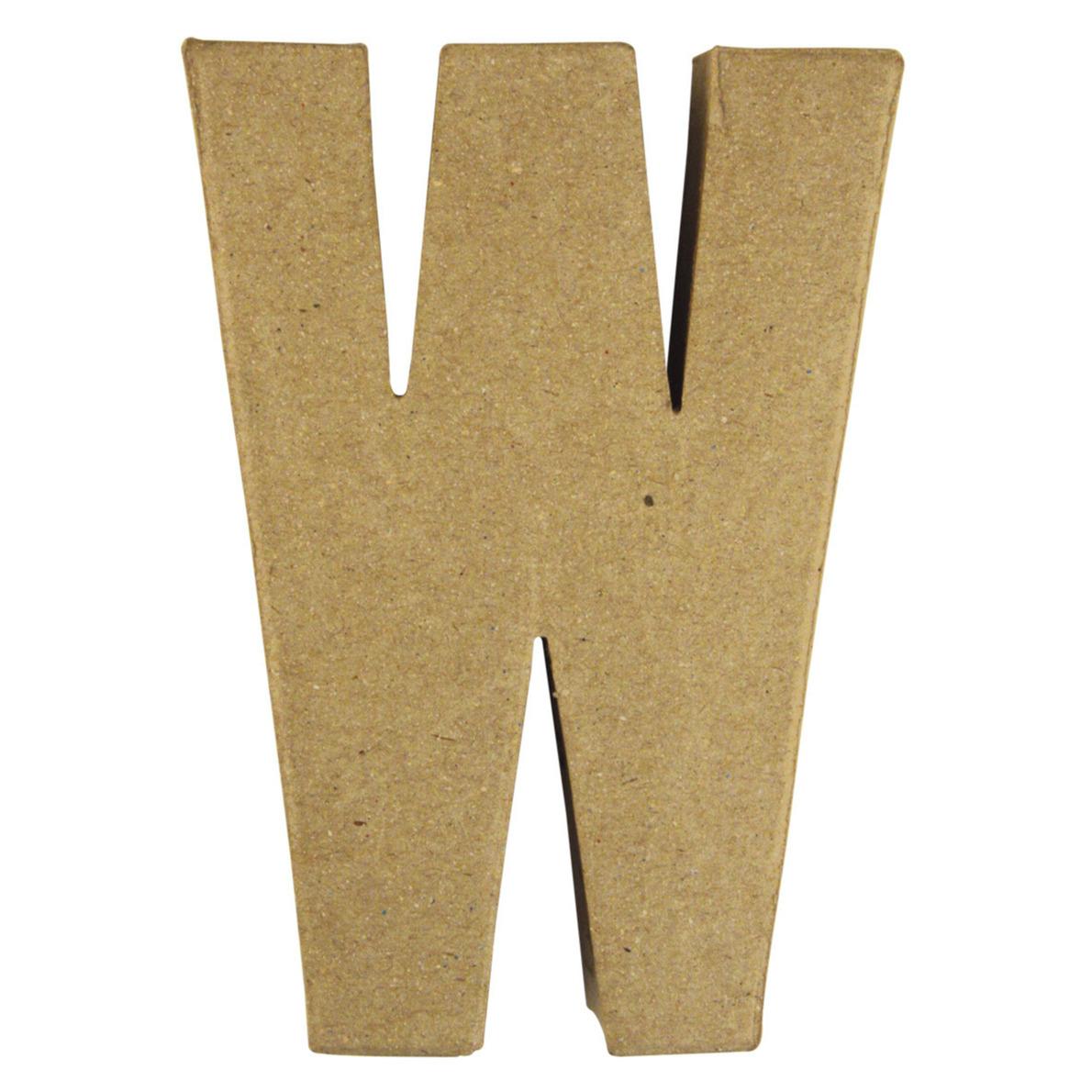 Letter W van papier mache onbeschilderd