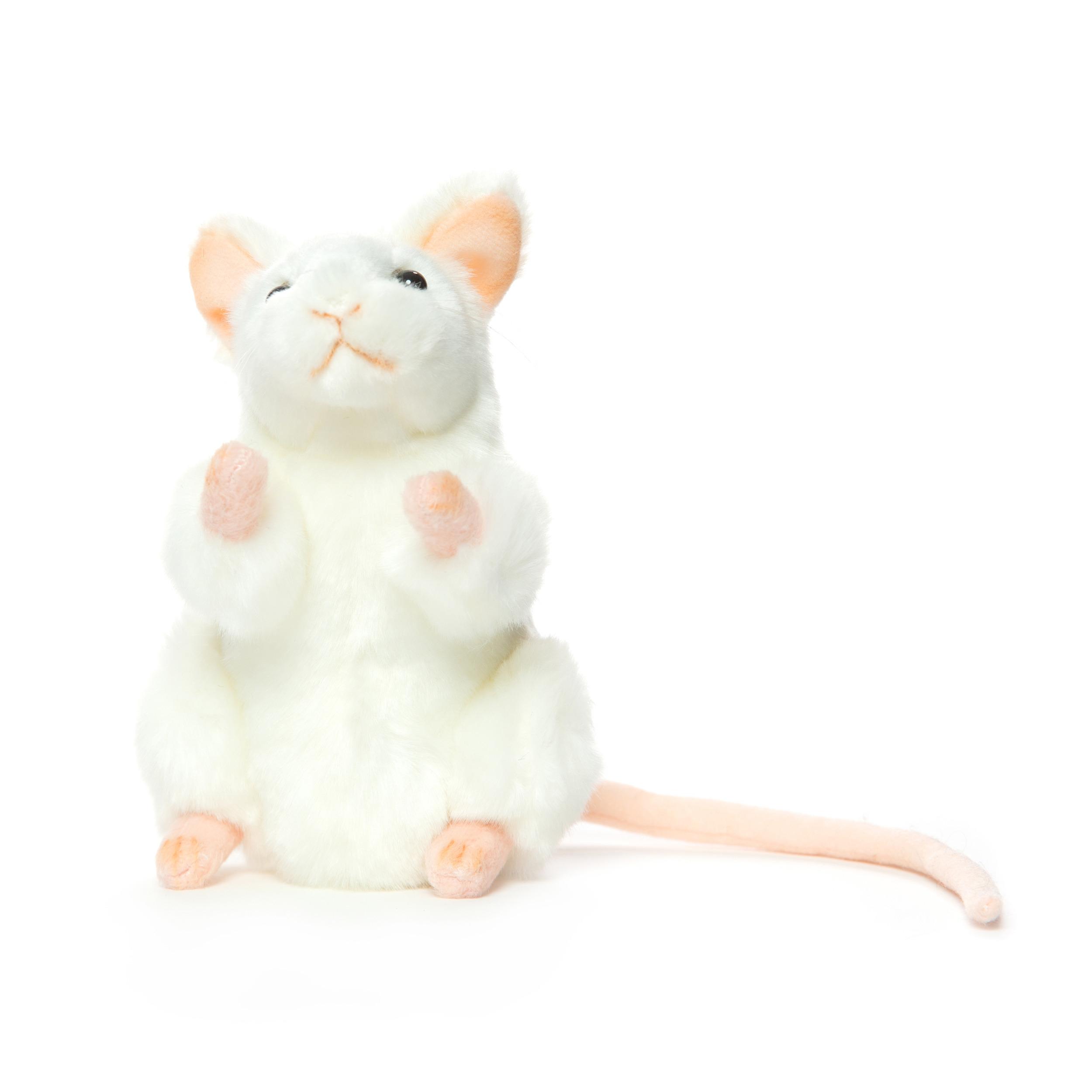 Levensechte Hansa pluche muis knuffel wit 16 cm