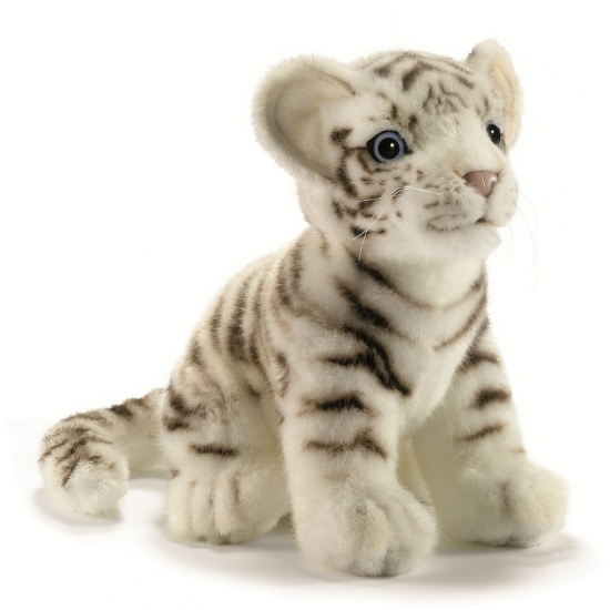 Levensechte Hansa pluche witte tijger pup knuffel zittend 18 cm