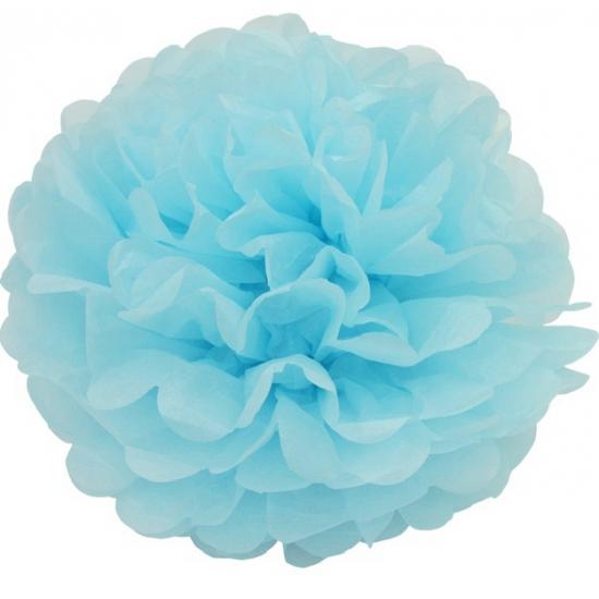 Lichtblauwe pompom versiering 35 cm