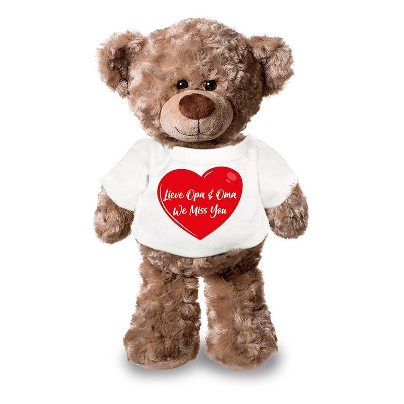 Lieve oma en opa we miss you pluche teddybeer knuffel 24 cm wit