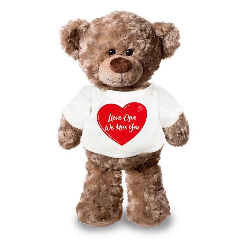 Lieve opa we miss you pluche teddybeer knuffel 24 cm met wit t-s