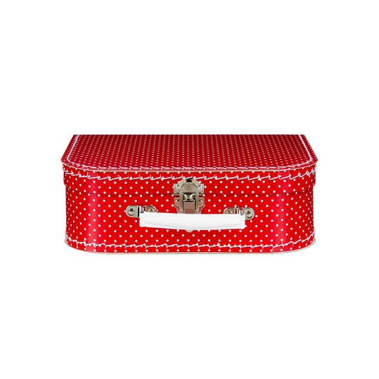 Logeerkoffer rood/wit 25 cm
