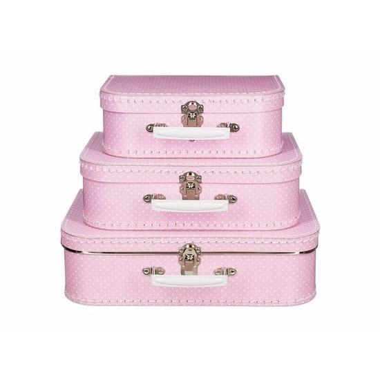 Logeerkoffertje roze/wit 30 cm