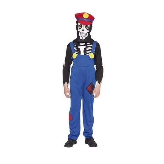 Loodgieter halloween skelet kostuum voor kinderen