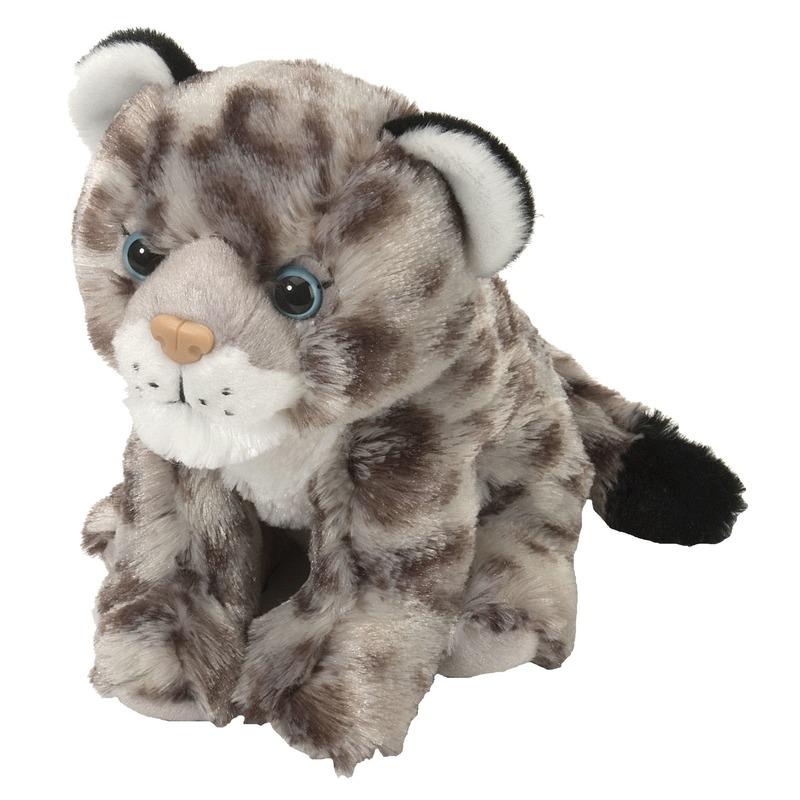 Luipaard speelgoed artikelen sneeuwluipaard knuffelbeest grijs 20 cm