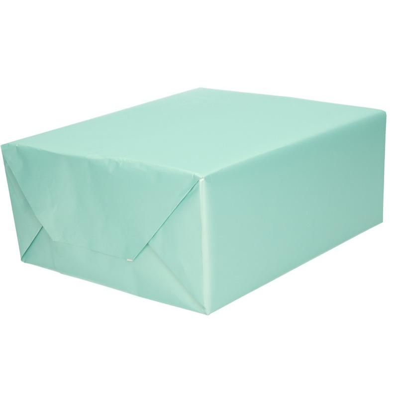 Luxe inpakpapier/cadeaupapier mintgroen zijdeglans 150 x 70 cm
