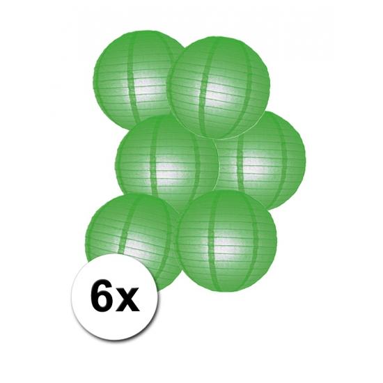 Luxe ronde lampionnen groen 6x