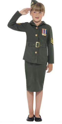 Meisjes army girl kostuum groen