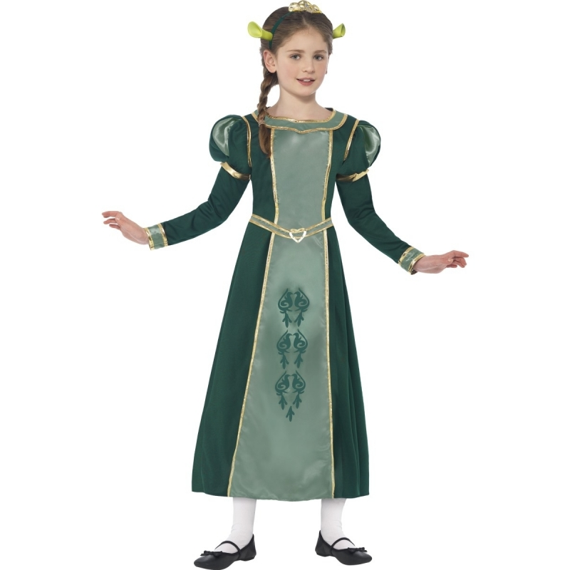 Meisjes groene prinses Fiona Shrek verkleedkleding