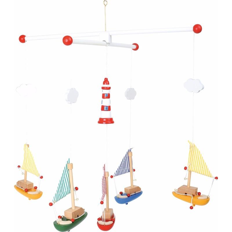 Mobiel met gekleurde zeilboten 39 cm
