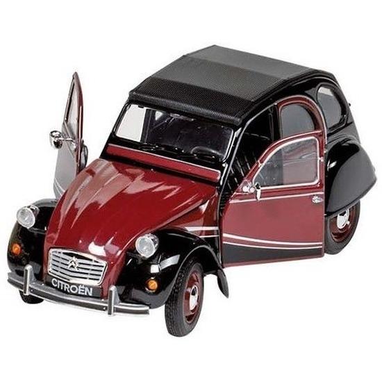 Modelauto Citroen 2CV rood/zwart 16,2 cm