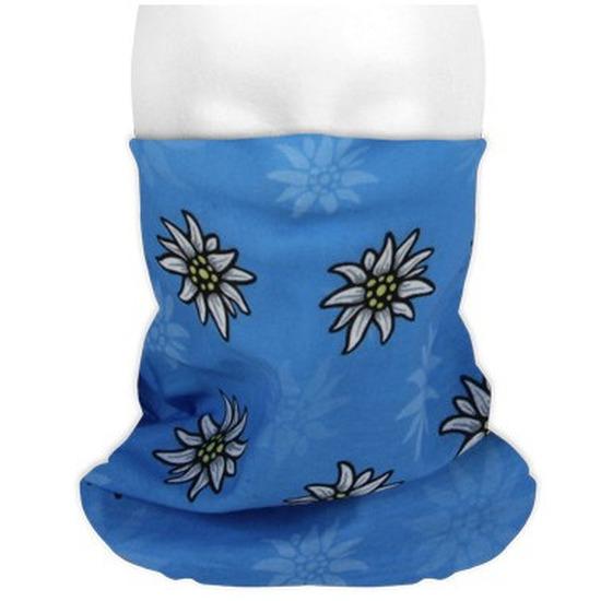 Multifunctionele morf sjaal blauw met edelweiss bloemen