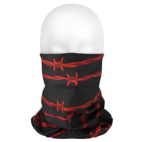 Multifunctionele morf sjaal rood met prikkeldraad