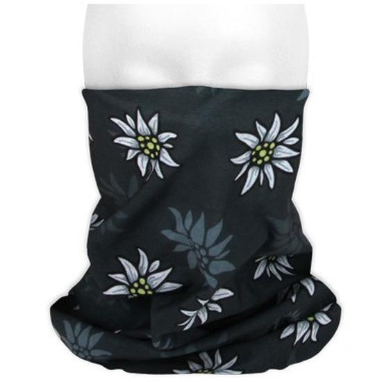 Multifunctionele morf sjaal zwart met edelweiss bloemen