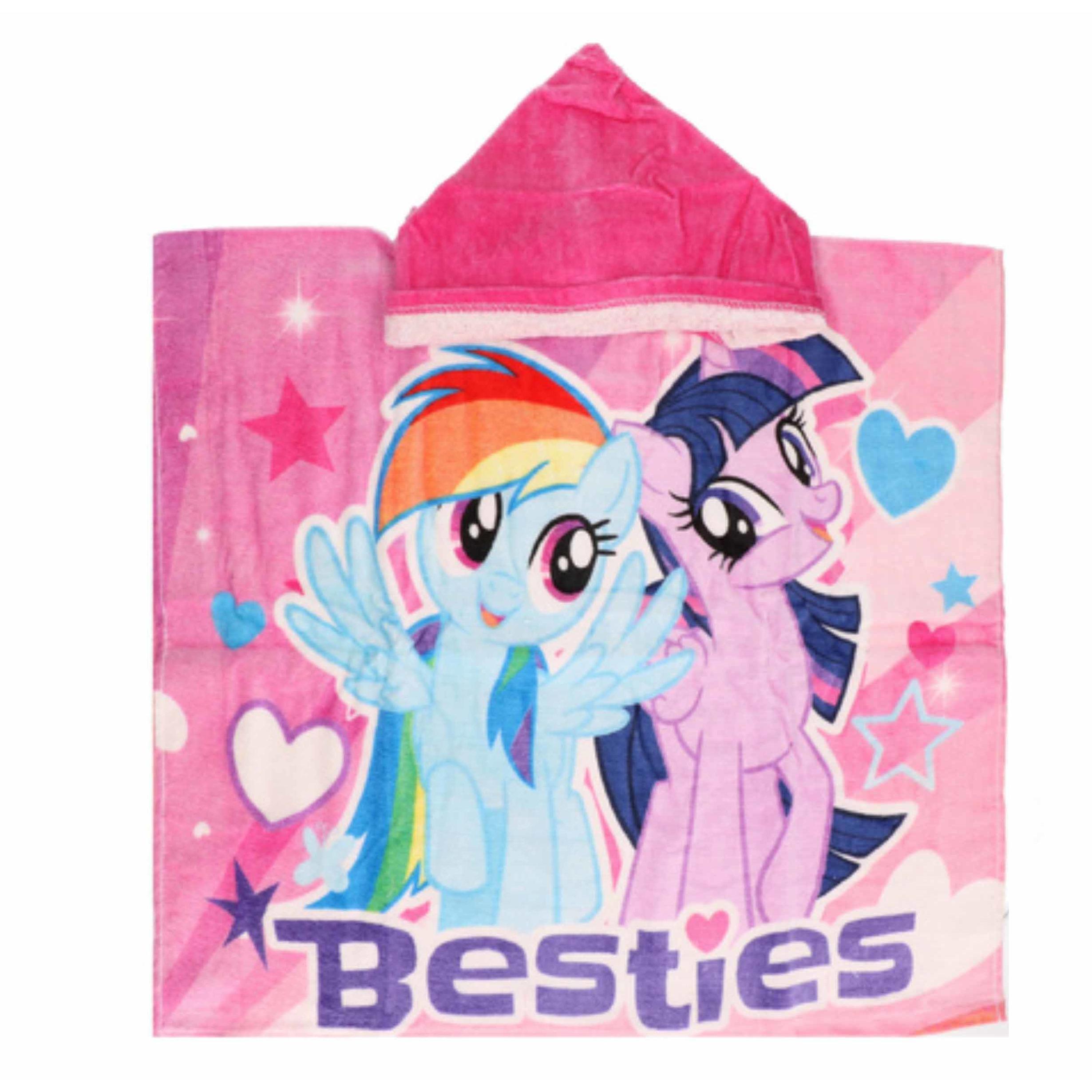 My Little Pony badcape/poncho met roze capuchon voor kinderen
