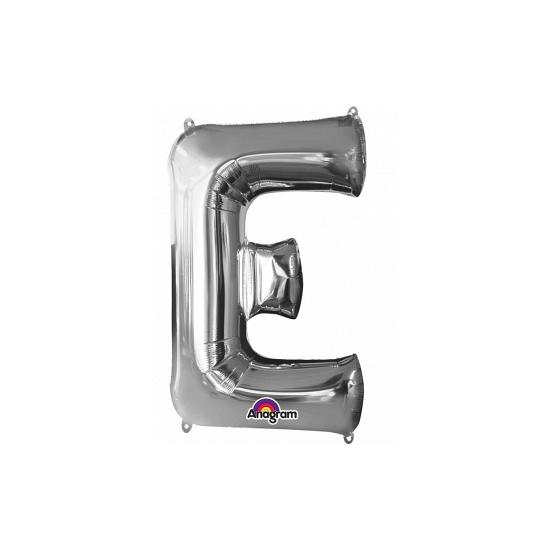 Naam versiering zilveren letter ballon E