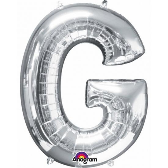 Naam versiering zilveren letter ballon G