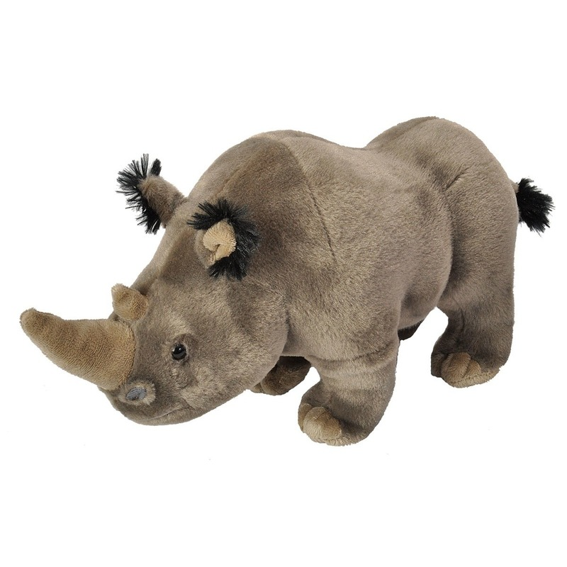 Neushoorns speelgoed artikelen neushoorn knuffelbeest grijs 35 cm
