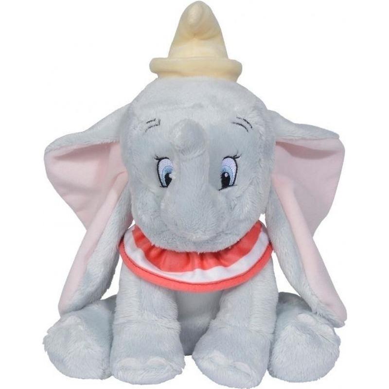 Olifanten speelgoed artikelen Disney Dumbo/Dombo olifant knuffelbeest grijs 24 cm