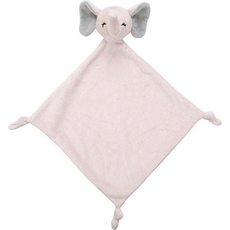 Olifanten speelgoed artikelen olifant tuttel/knuffeldoek knuffelbeest roze 40 cm