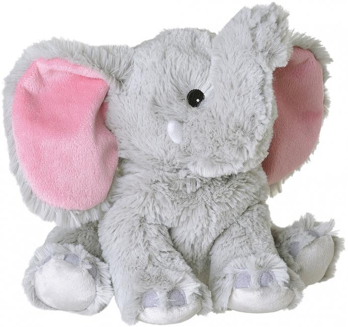 Olifanten speelgoed artikelen opwarmbare olifant knuffelbeest grijs 29 cm