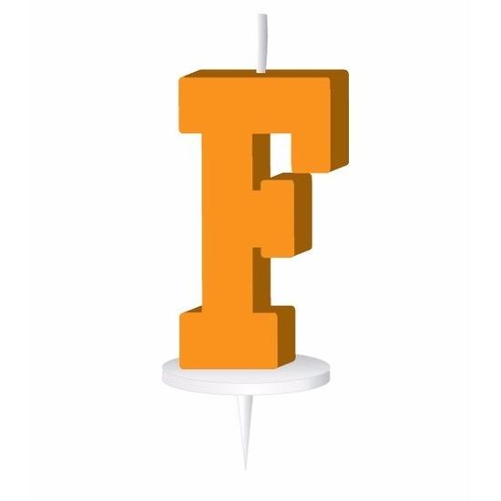 Oranje naam kaarsje letter F