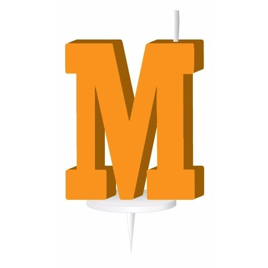Oranje naam kaarsje letter M