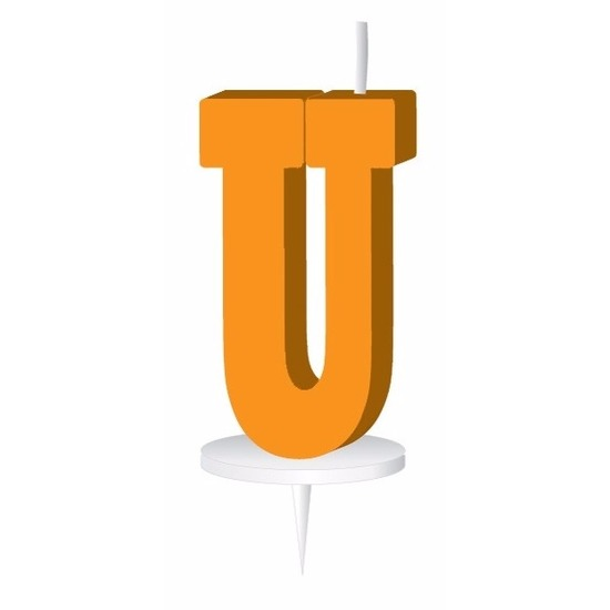 Oranje naam kaarsje letter U