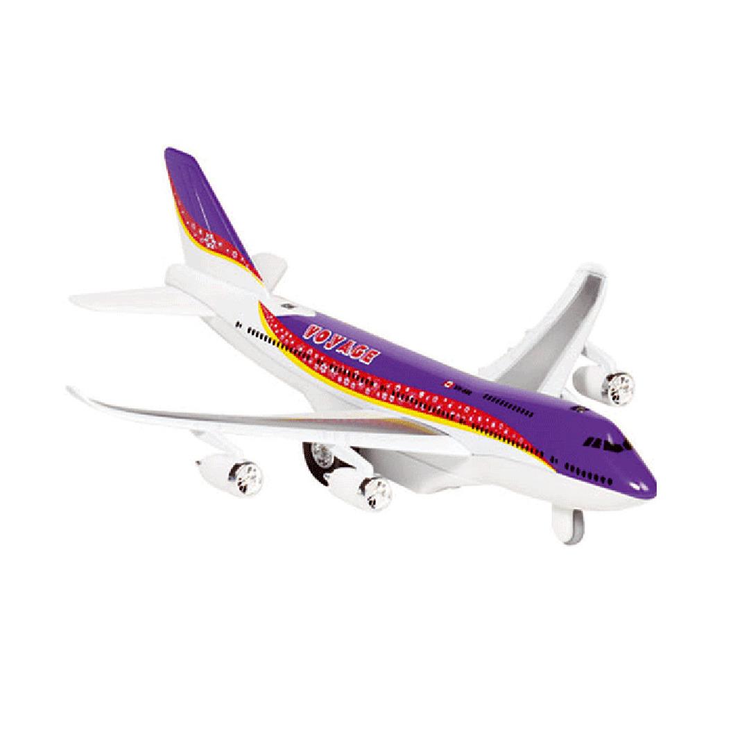 Paars speelgoed vliegtuig met licht en geluid voor kinderen