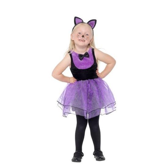Paars/zwarte kat/poes kostuum voor peuters