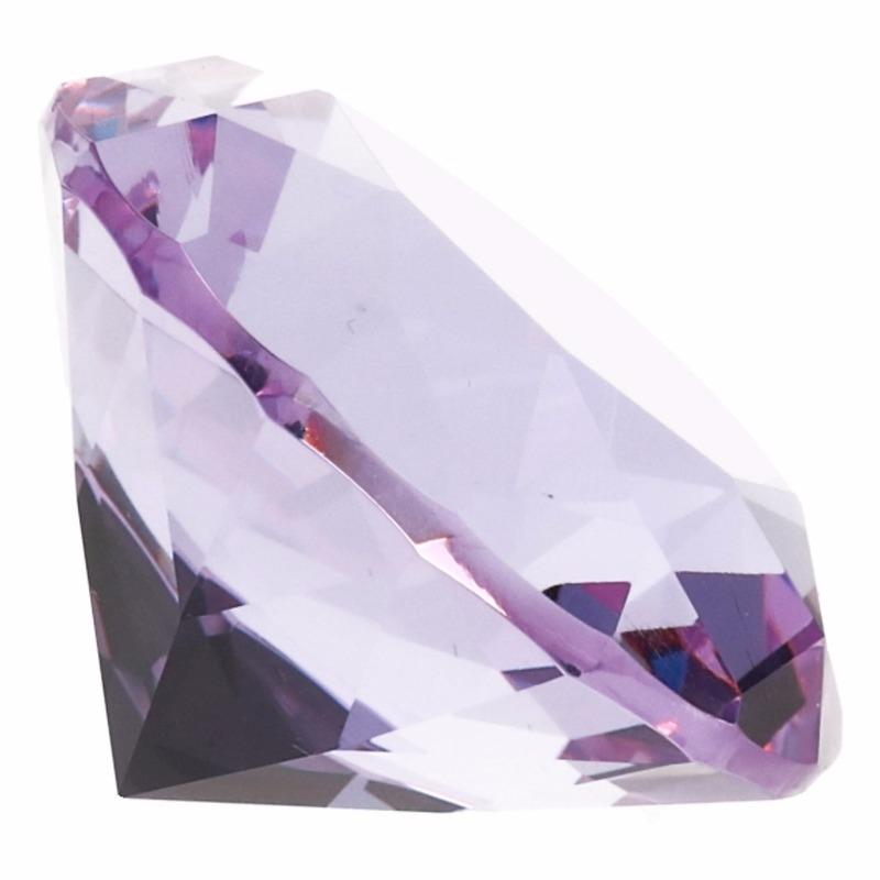 Paarse nep diamant 5 cm van glas