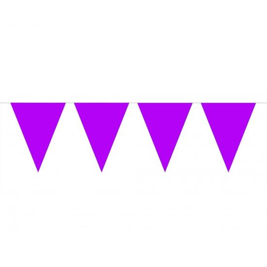 Paarse slinger met vlaggetjes 10 meter