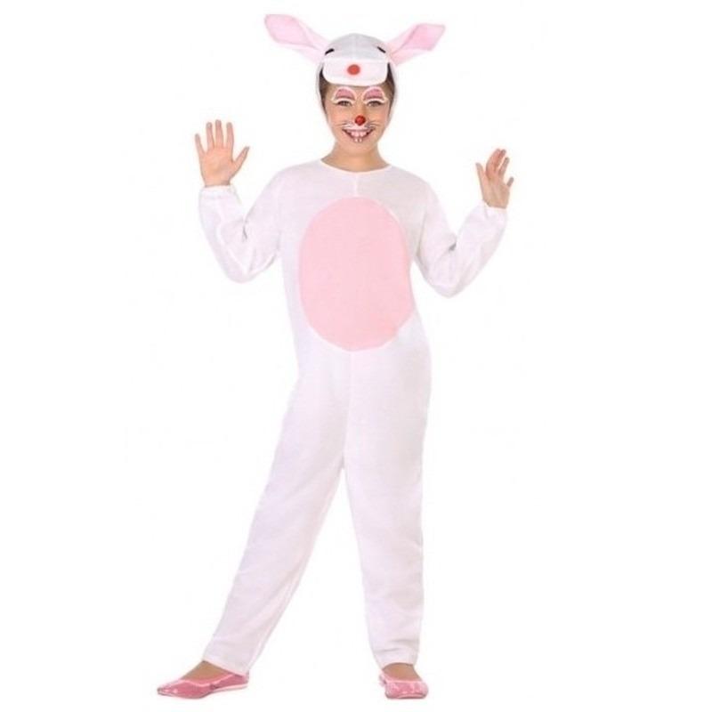 Paashaas outfit wit/roze voor kinderen