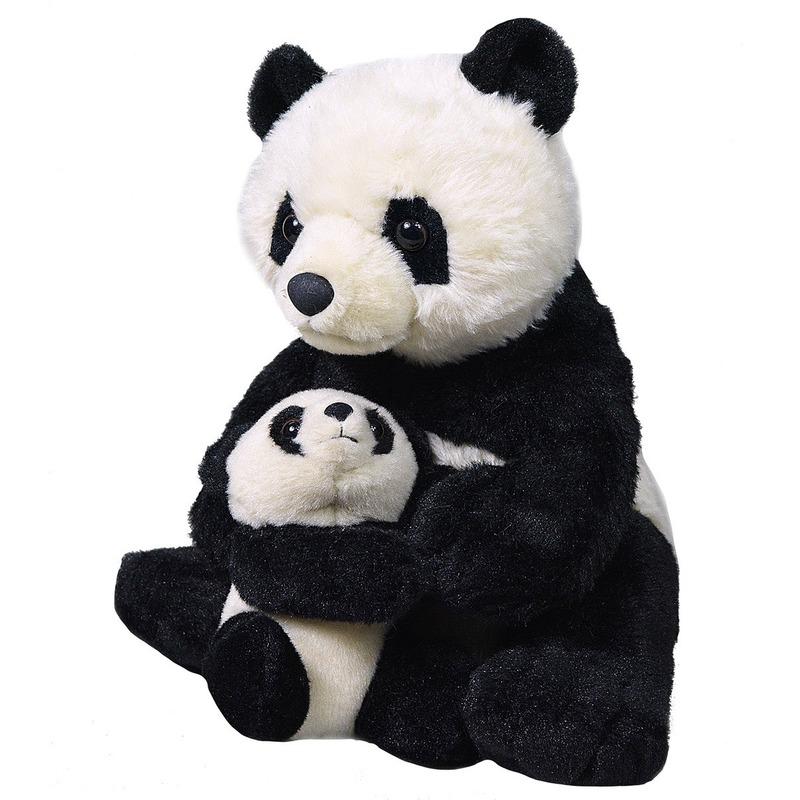 Pandaberen speelgoed artikelen panda met babypanda knuffelbeest zwart 38 cm