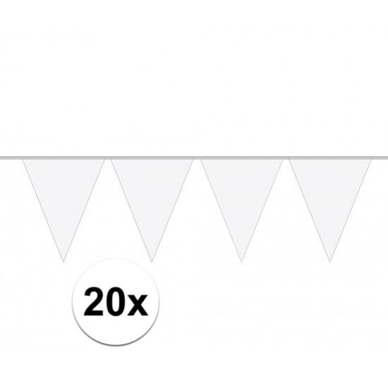 Party vlaggenlijn wit effen 20x stuks
