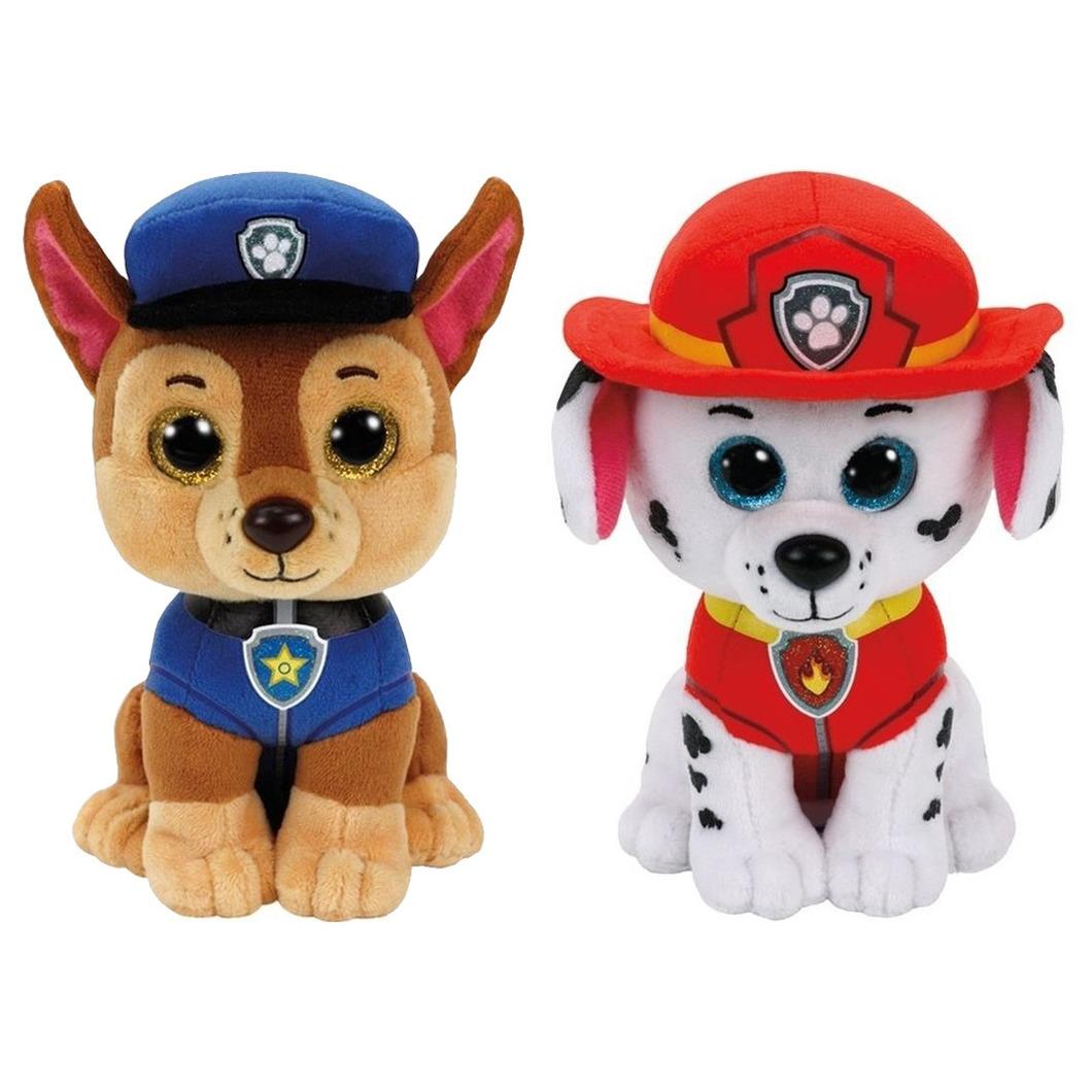 Paw Patrol knuffels set van 2x karakters Chase en Marshall 15 cm