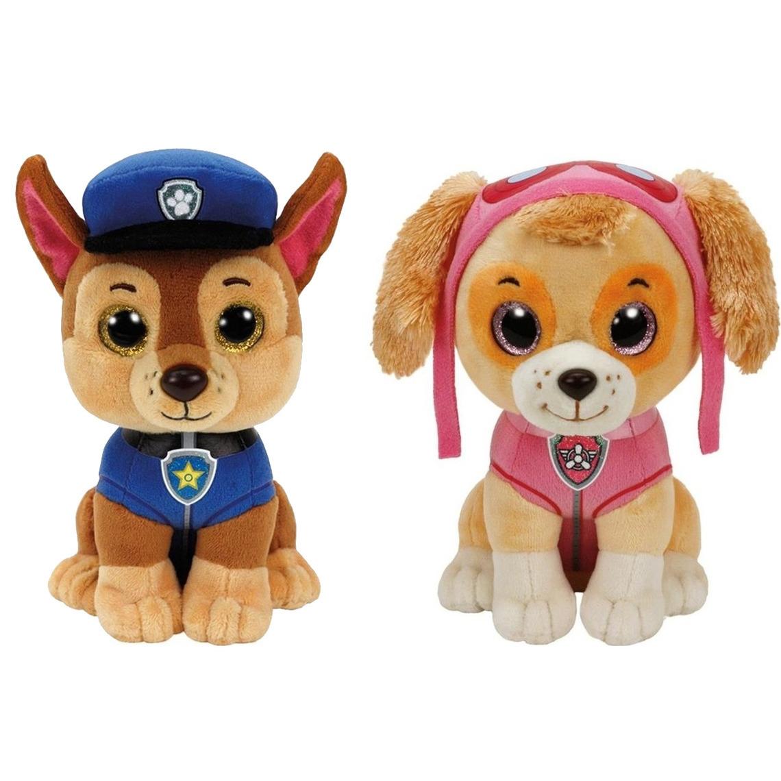 Paw Patrol knuffels set van 2x karakters Chase en Skye 15 cm
