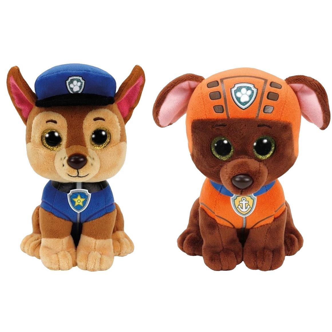 Paw Patrol knuffels set van 2x karakters Chase en Zuma 15 cm