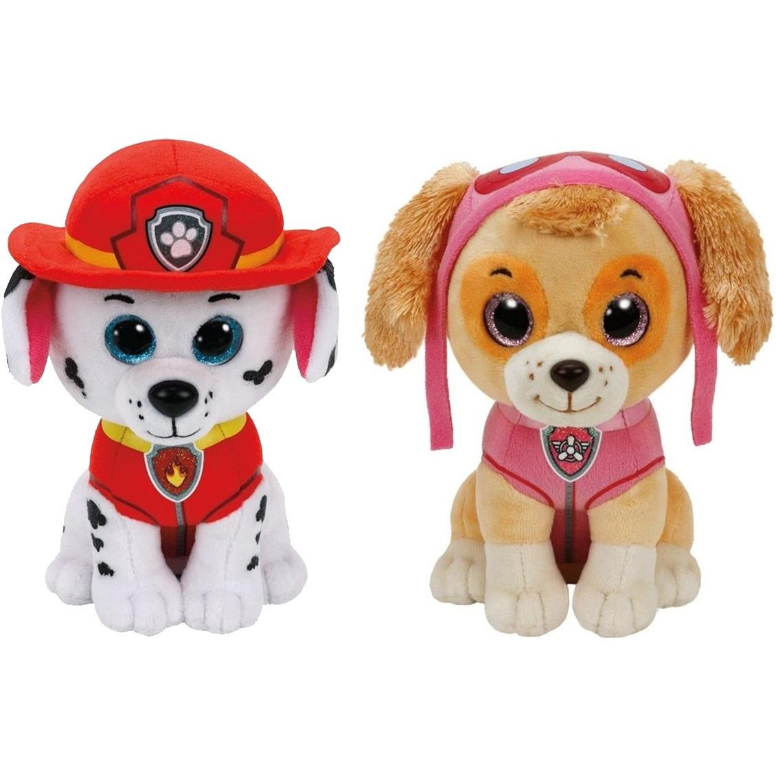 Paw Patrol knuffels set van 2x karakters Marshall en Skye 15 cm