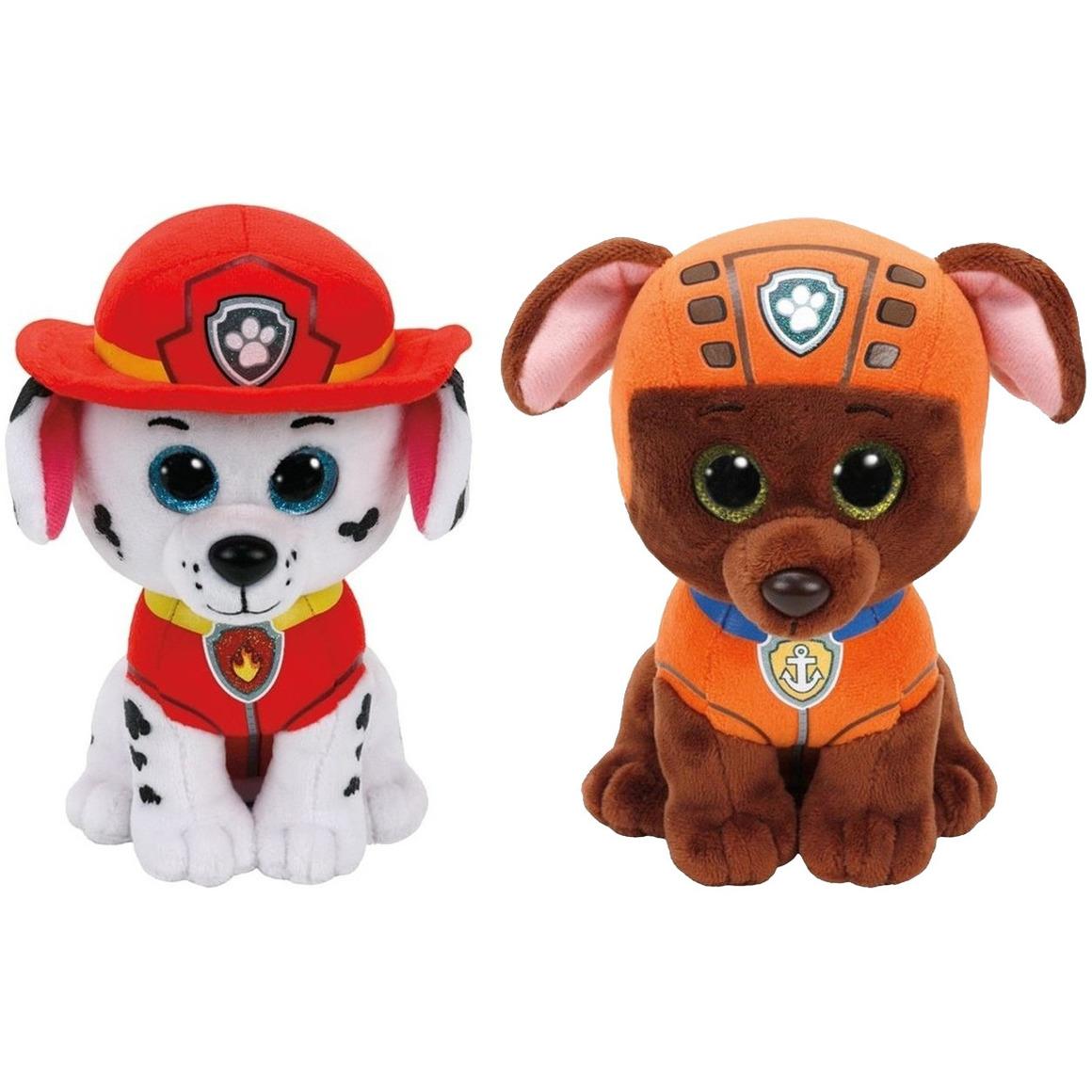Paw Patrol knuffels set van 2x karakters Marshall en Zuma 15 cm