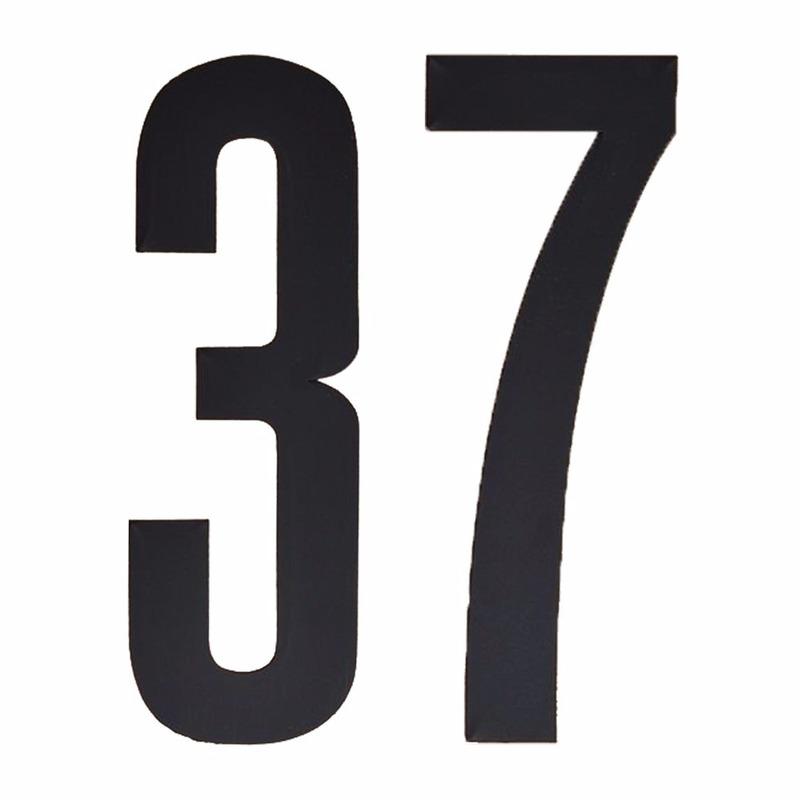 Plakcijfers 37 zwart 10 cm